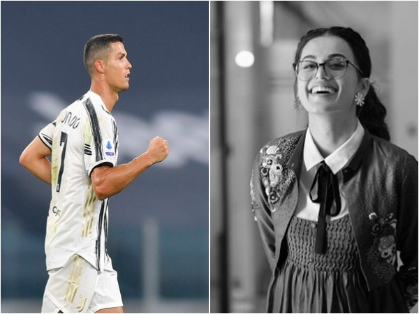 Cristiano Ronaldo (L) and Taapsee Pannu (R)