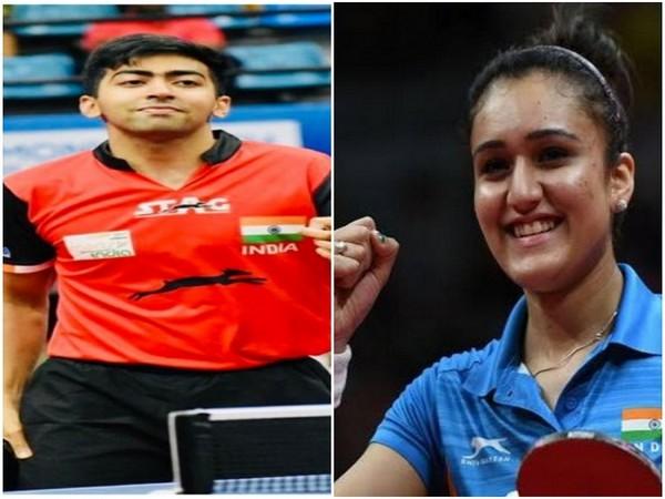 Indian table tennis icons Harmeet Desai (Photo/SAI Media Twitter) and Manika Batra