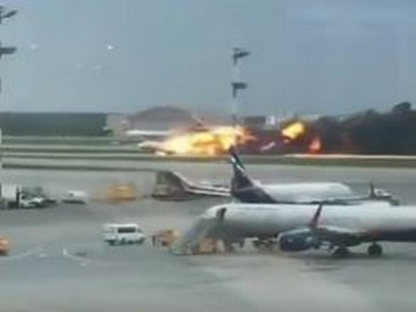 Massive fire broke out on a Russian passenger plane on Sunday (courtesy: Russia Today twitter)
