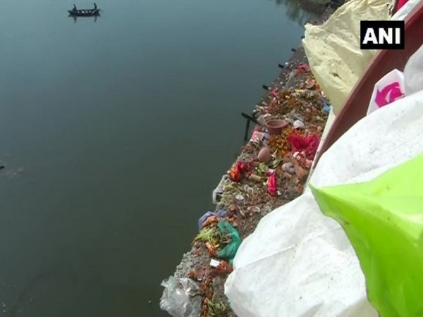 Visuals from the Yamuna Ghat on Wednesday. Photo/ANI