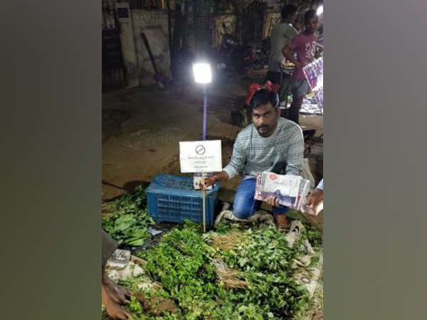 Activist Ram Dosapati started a campaign 'Bring Plastic Take Sapling' in Hyderabad. Photo/ANI