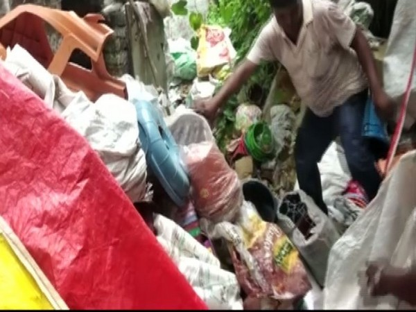 Pile of plastic products lying in Lucknow. [Photo/ANI]