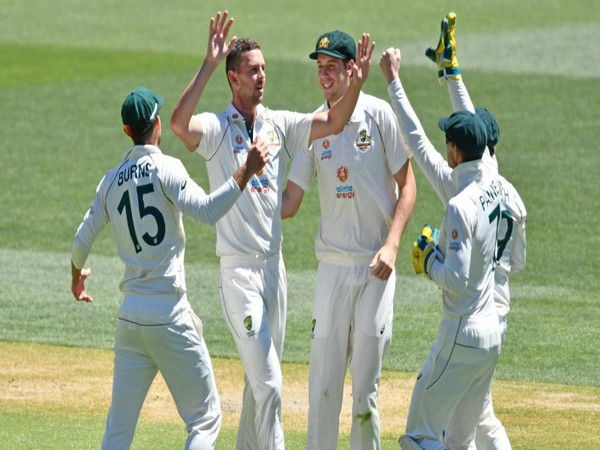 Australian players celebrating after taking a wicket in first Test. (Photo/ ICC Twitter)