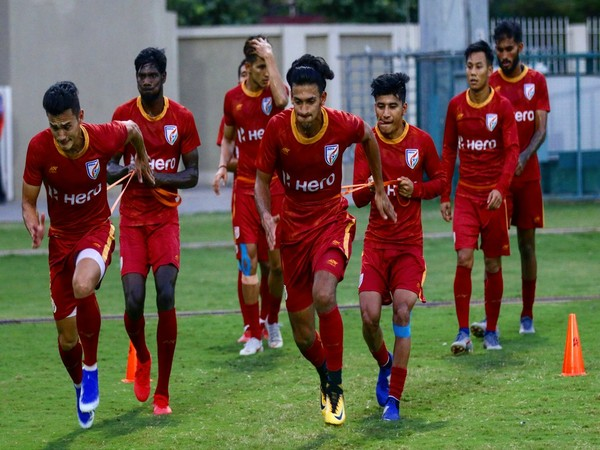 Indian players training for their match against DPR Korea. (Photo/Indian Football Team Twitter)