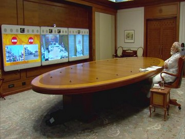 Prime Minister Narendra Modi at the video conferencing on review of development projects in Varanasi.