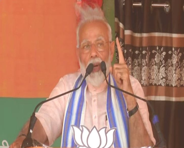 Prime Minister Narendra Modi addressing an election rally in Chhattisgarh on Tuesday. Photo/ANI