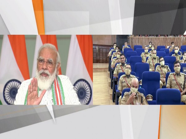 Prime Minister Narendra Modi interacting with IPS probationers through video conferencing during the 'Dikshant Parade' event in Hyderabad. [Photo/ANI]