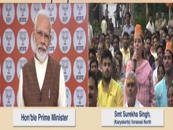 Prime Minister Narendra Modi interacting with Varanasi BJP workers via videoconferencing on Thursday. Photo/ANI