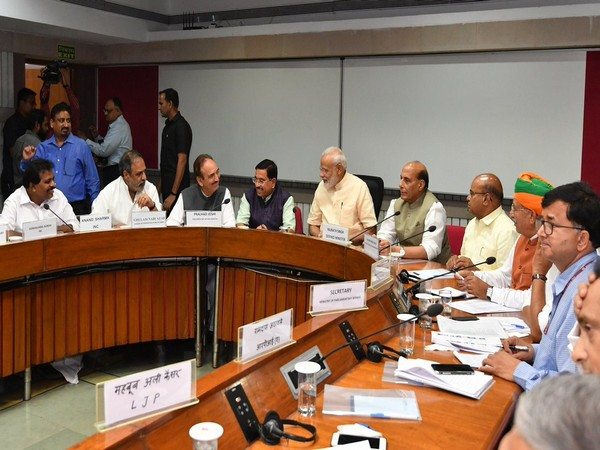 Prime Minister Narendra Modi and other leaders at all-party meeting in New Delhi on Sunday. (Picture courtesy: Twitter handle of PM)