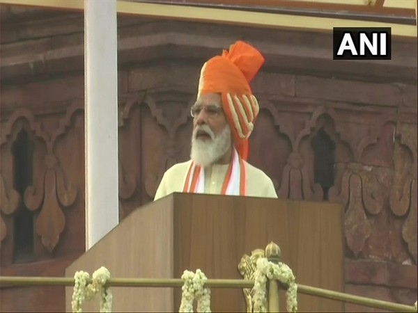 Prime Minister Narendra Modi while addressing the natin from Red Fort. (Photo/ANI)