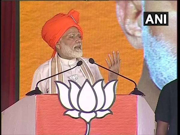 Prime Minister Narendra Modi addressing an election rally at Hisar in Haryana on Friday. Photo/ANI