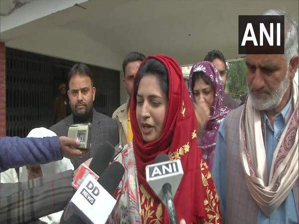 Tazeem Akhter, elected chairperson of Poonch DDC speaking to media on Saturday. (Photo/ANI)