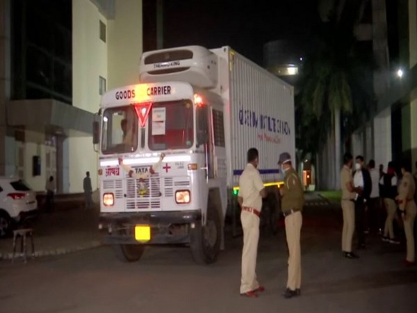 A truck to be used to transport COVID-19 vaccine, at Serum Institute of India premises in Pune. (ANI/Photo)