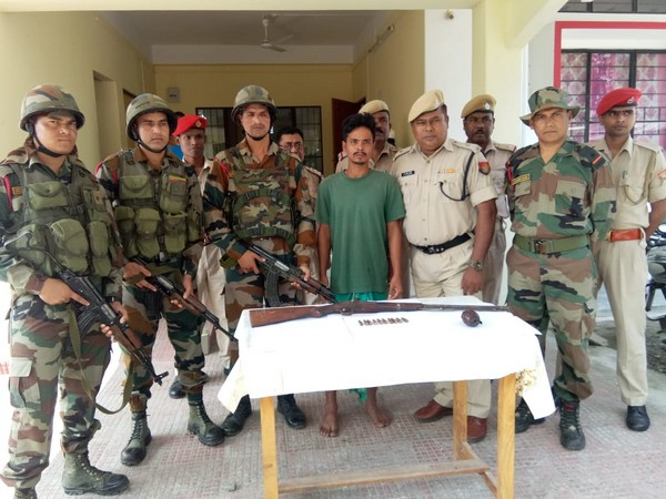 In a joint operation, Assam police and CRPF on Saturday apprehended one NDFB cadre from Chirang, Assam. (Photo/ANI)