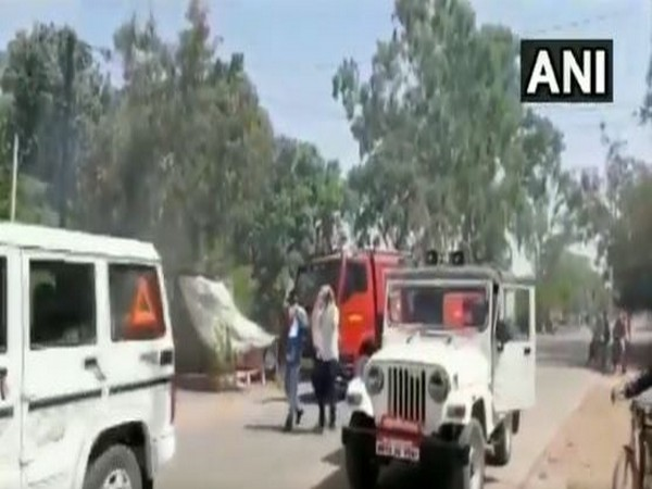 Police sirens being used to scare away locusts in Panna yesterday. [Photo/ANI]