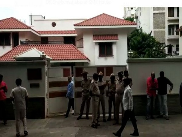 Police deployed outside SM Krishna's house in Bengaluru on Tuesday.