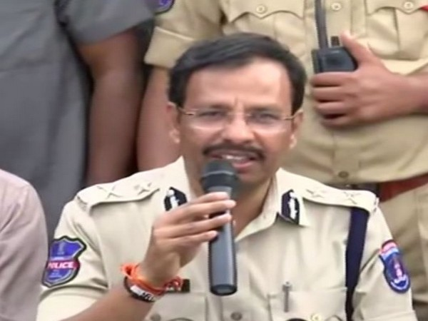 Cyberabad Police Commissioner VC Sajjanar addressing press conference in Hyderabad on Friday