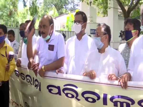 13 political parties protested against Odisha government over management of COVID-19 situation on Friday. Photo/ANI