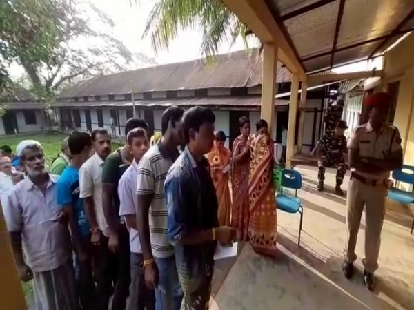 Visuals from a polling station in Ratabari constituency on Monday. Photo/ANI