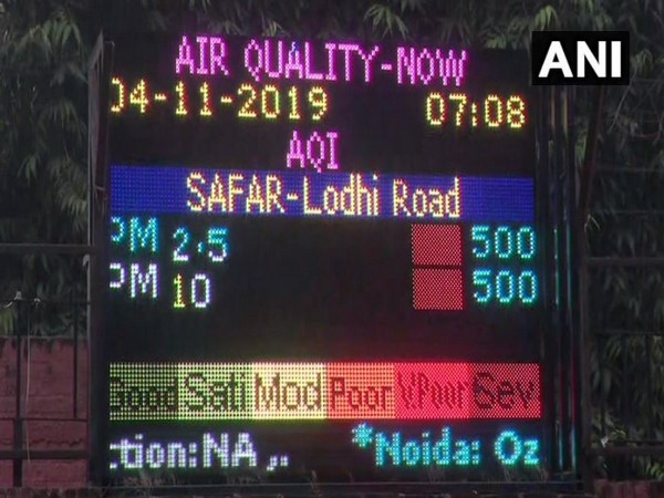 Air quality in the national capital continued to remain in 'severe' category on Monday. Photo/ANI