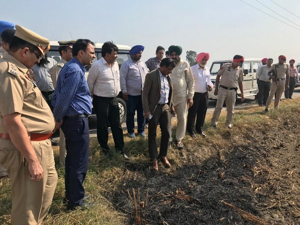 Ludhiana District Administration inspecting stubble burning. Photo/ANI