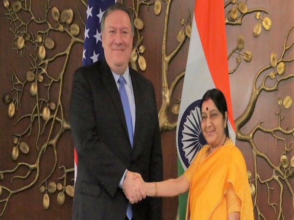 US Secretary of State Michael Pompeo (L) and former External Affairs Minister Sushma Swaraj (File photo)