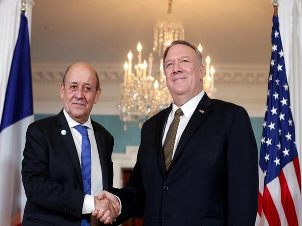 French Foreign Minister Jean-Yves Le Drian and US Secretary of State Mike Pompeo.