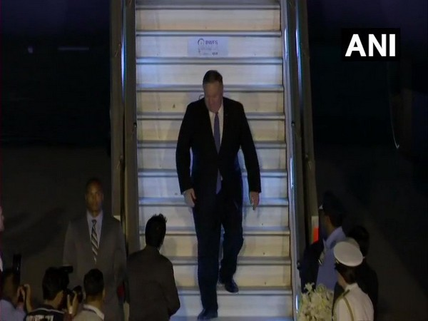 United States Secretary of States Michael Pompeo arrives in New Delhi for a three-day visit. (Photo/ANI)