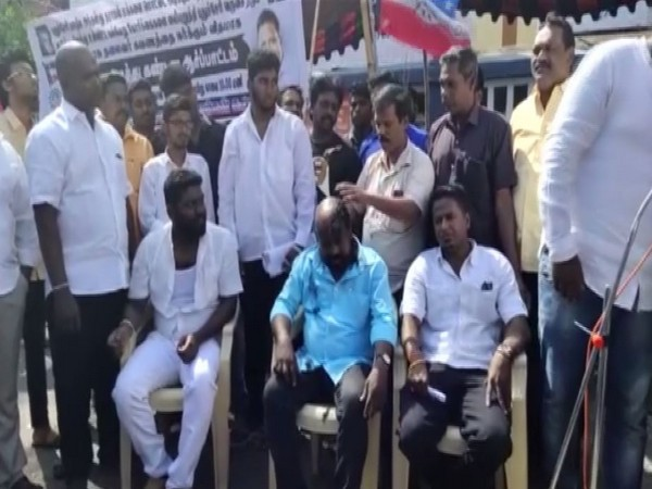 Protestors shave their heads in Puducherry on Sunday. Photo/ANI
