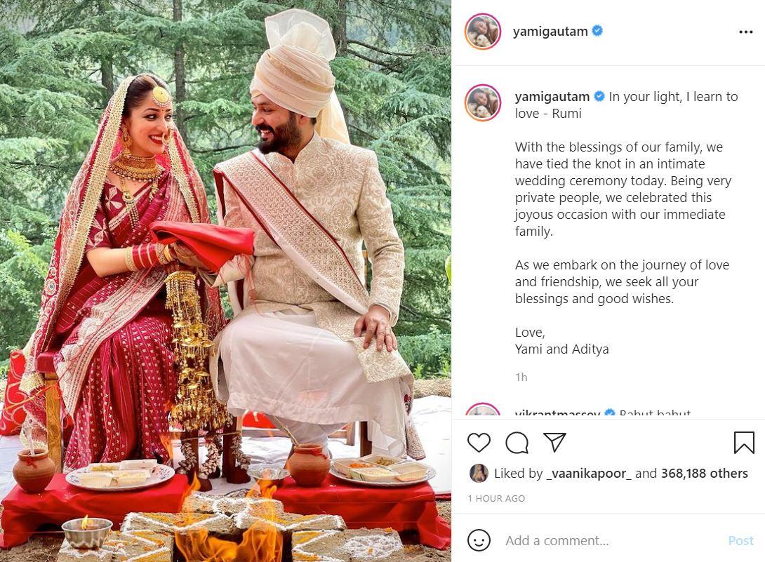 Yami Gautam gets married to Uri director Aditya Dhar