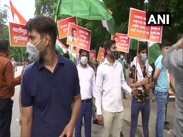 Members of Rajput Karni Sena during protest at India gate on Sunday. (Photo/ANI)