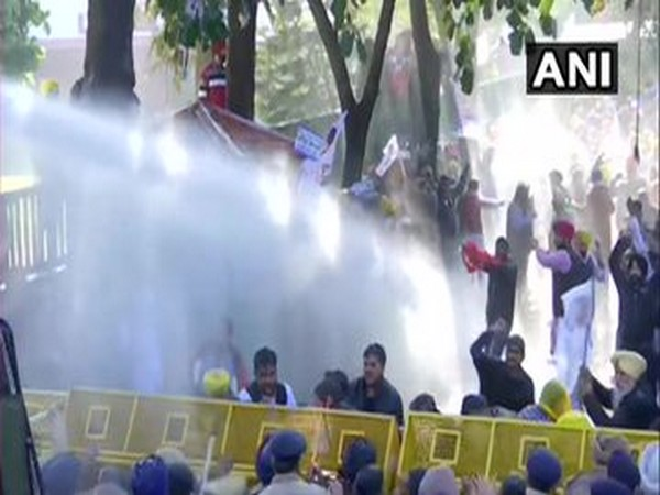 Visuals from AAP protest in Chandigarh on Friday.