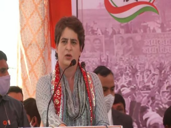 Congress General Secretary Priyanka Gandhi Vadra addressing a Kisan mahapanchayat on Tuesday. (Photo/ANI)