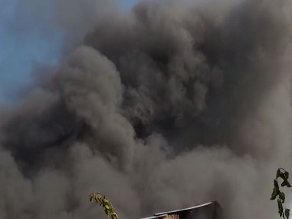 Visual from the fire at a plastic factory in UP's Lucknow. (Photo/ANI)