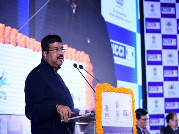 Union Minister Dharmendra Pradhan speaking at an event in New Delhi on Monday.