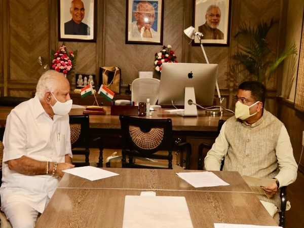 Karnataka Chief Minister of BS Yediyurappa with Union Minister Dharmendra Pradhan in New Delhi on Friday