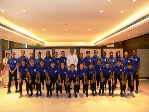 AIFF President Praful Patel with Indian Women's football team at an event. (Photo/Indian Football Team Twitter)