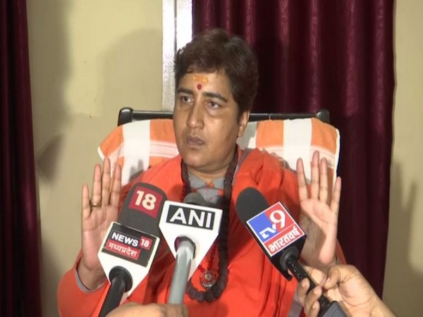 Lok Sabha MP Pragya Thakur speaking to reporters in Bhopal on Tuesday. Photo/ANI