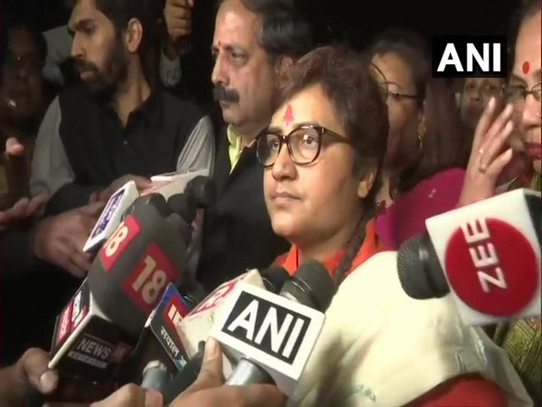 Bhopal MP Pragya Singh Thakur talking to reporters in Bhopal on Saturday. Photo/ANI