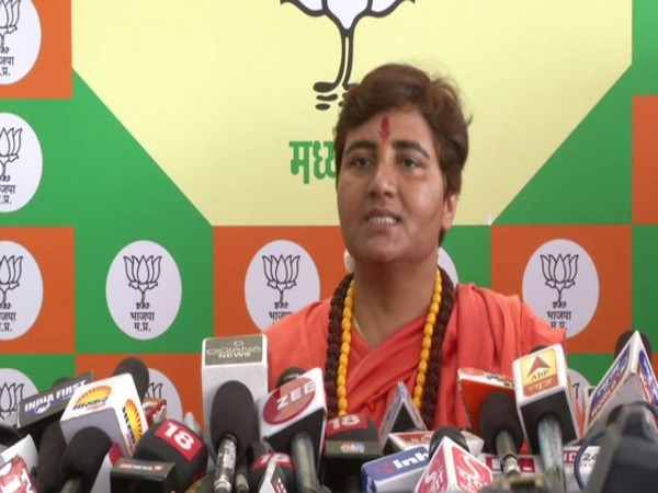 Pragya Singh Thakur speaking at a press conferene in Bhopal on Friday. Photo/ANI