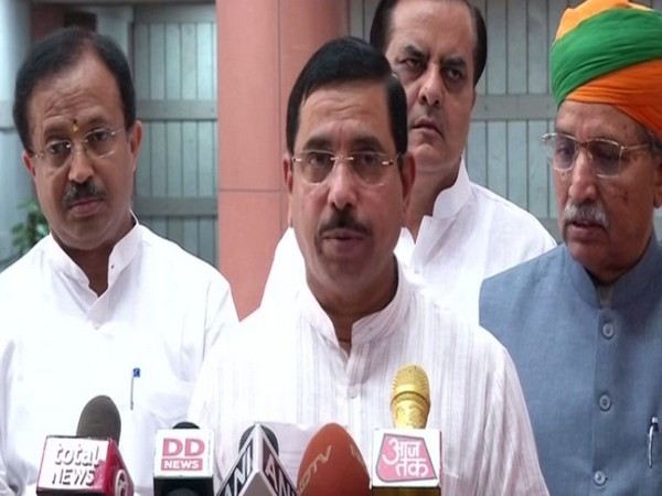 Parliamentary Affairs Minister Pralhad Joshi speaking to reporters in New Delhi on Tuesday. Photo/ANI