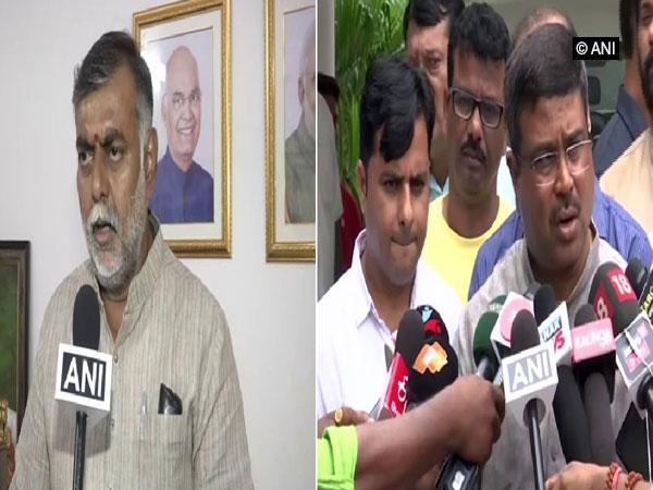 Union Ministers Prahlad Singh Patel and Dharmendra Pradhan speaking to ANI on Saturday Photo/ANI