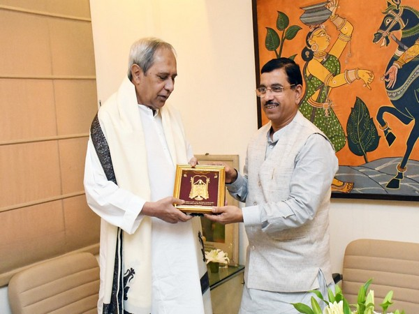 Chief Minister Naveen Patnaik and Union Minister Prahlad Joshi in Bhubanseswar on Friday. Photo/Prahlad Joshi official twitter account