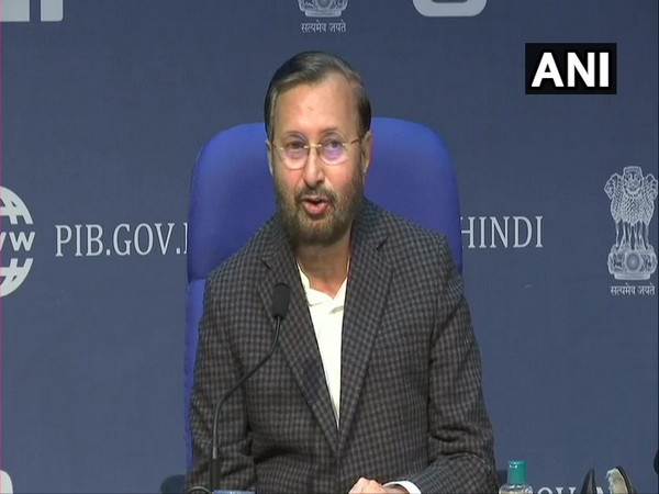 Information and Broadcasting Minister Prakash Javadekar during the press briefing in New Delhi on Wednesday. (Photo/ANI)
