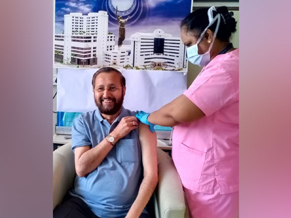 Union Minister Prakash Javadekar taking his first dose of COVID19 vaccine in Pune