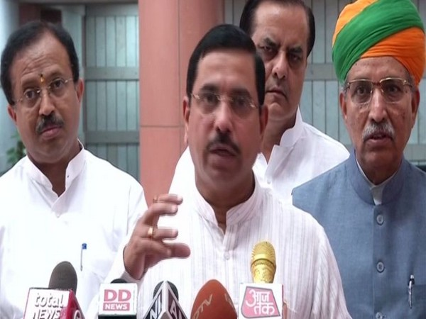 Union Minister Pralhad Joshi speaking to reporters in New Delhi on Tuesday. Photo/ANI