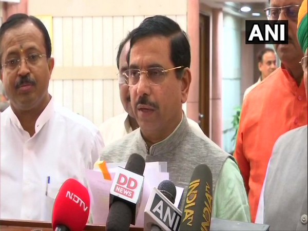 Union Minister Pralhad Joshi speaking to media after BJP Parliamentary meeting. (Photo/ANI)