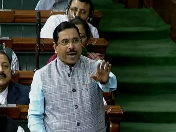 Parliamentary Affairs Minister Pralhad Joshi in Lok Sabha on Monday. (Image Source LS TV)