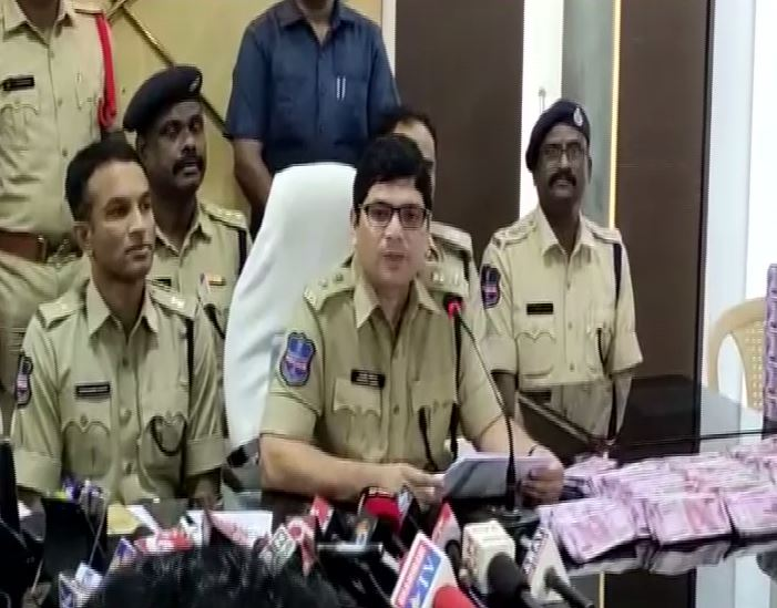 Commissioner of Police Tafseer Iqbal addressing a press conference in Khammam on Saturday. Photo/ANI