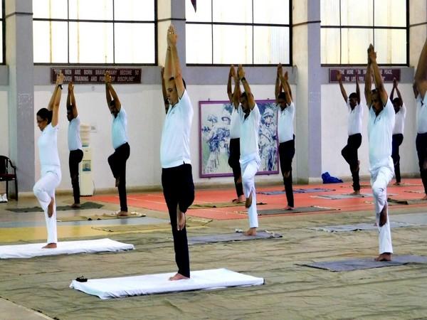 All ranks practiced yoga to include various Asanas, Yogic Kriyas and Pranayam. Photo/ANI